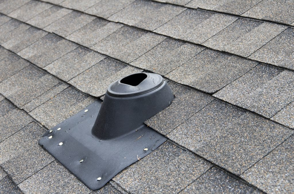 Fresh air drain inlet installed on a residential property's roof.